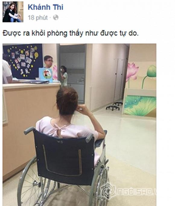 Fans xót xa trước hình ảnh ngồi xe lăn của Khánh Thi