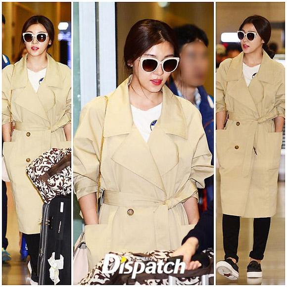 Ha Ji Won lộ mặt bóng nhẫy ở sân bay