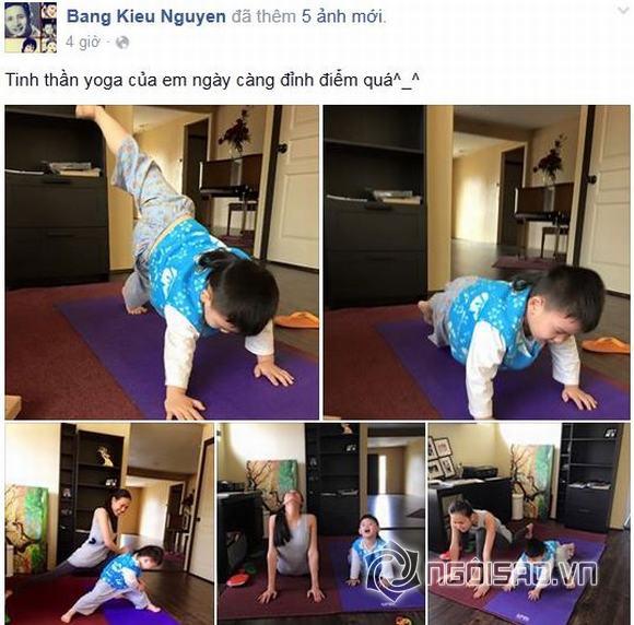 Dương Mỹ Linh tập yoga cùng con trai út Bằng Kiều