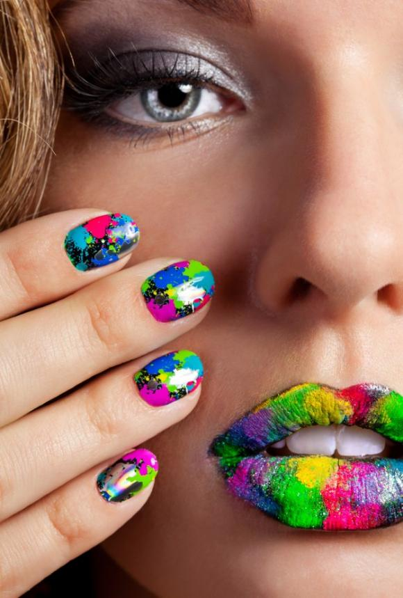 Nail art with beautiful colors