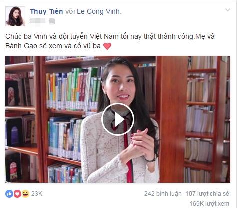 Clip Thủy Tiên gửi lời chúc đến Công Vinh và đội tuyển Việt Nam nhận được bão like