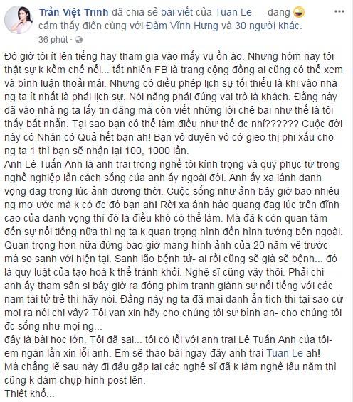 Việt Trinh, Lê Tuấn Anh, sao Việt