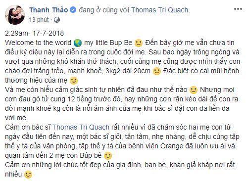Thanh Thảo sinh con,Thanh Thảo,sao Việt