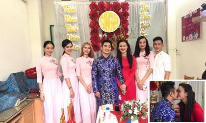 Tuyết Lan Next Top ngọt ngào hôn bạn trai doanh nhân trong ngày lễ ăn hỏi