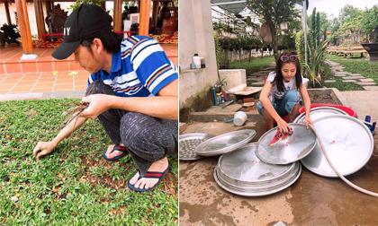 Hoài Linh tự tay nhổ cỏ, Nam Thư lau dọn đồ chuẩn bị cho ngày giỗ Tổ nghề sân khấu
