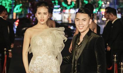 Ông bầu Kenbi Khánh Phạm hộ tống siêu mẫu Quỳnh Hoa đi sự kiện