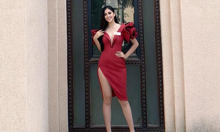 Vừa nhập cuộc Miss World, hoa hậu Tiểu Vy gây ấn tượng khi diện váy khoét sâu, khoe vòng 1 gợi cảm
