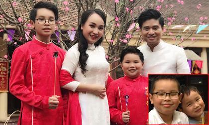 """Mới ngày nào còn là bé con, hai cậu ấm nhà """"Thị Mầu"""" Thu Huyền và ca sĩ Tấn Minh đã lớn phổng phao"""