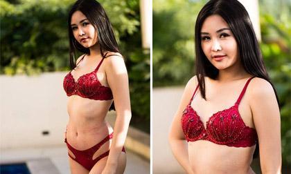 Lê Âu Ngân Anh để lộ vết thâm tím và làn da sần khi diện bikini
