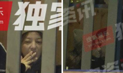 Triệu Vy bị bắt gặp phì phèo thuốc lá, được trai lạ hôn má tình cảm