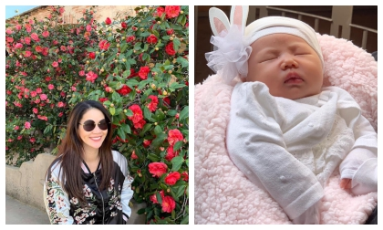 Sau một tháng sinh con, Thân Thuý Hà đã chịu khoe mặt thiên thần nhỏ cực xinh xắn